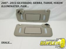 2007-2013 SILVERADO SIERRA TAHOE YUKON SUN VISOR COVERED MIRROR ILLUMINATED PAIR