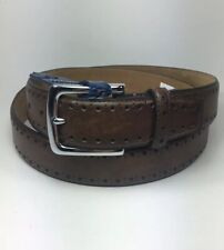Cole Haan 35mm Perforated Trim Dress Belt Size: 40 Chocolate Brown CHDM31039 NWT