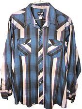 Vtg Wrangler Long Tail Western Pearl Snap Button Long Sleeve Shirt Striped XXL