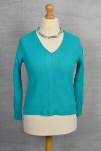 PURE COLLECTION rrp £140 Turquoise 100% cashmere v-neck gassato cable jumper 10