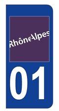 1 Sticker plaque d'immatriculation AUTO département 01