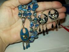 Lapis Lauzuli and Abalone inlay- Necklace with Pendant and Earrings