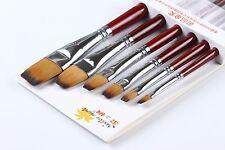 Flat Bi-color Nylon Synthetic Bristle Hair Paint Brush Artist Oil Acrylic Brush