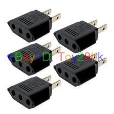 5 pcs US Japan Mini Travel Adapter Convert EU 2 prong to US ungrounded Plug