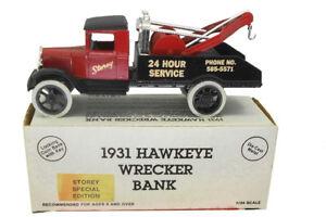 Storey Wrecker Tulsa OK #2 1931 Hawkeye Tow Truck 1992 Diecast Ertl Bank #9573