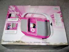NEW PINK & SILVER BOOMBOX FOR iPOD AM/FM RADIO STEREO MODEL #BI108P