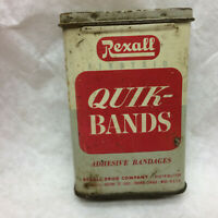 Vintage Tin Box ONLY Rexall Quik-Bands