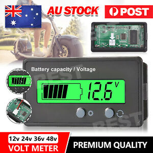 LCD 12V 24V 36V 48V Battery Status Voltage Voltmeter Monitor Meter Caravan AU