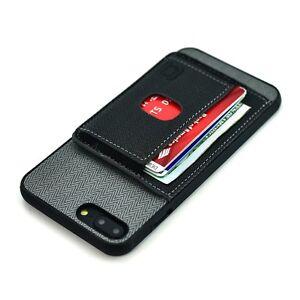 iPhone 8 Plus & 7+ Bumper Card Case Elastic Wallet Flap Kickstand; Dockem, Black