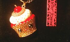 Betsey Johnson CUP CAKE BOY Pendant Necklace.-FAST 3-5 DAY DELIVERY-NWT