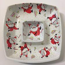 Vtg 60s Dancing Santa Claus Chip Dip Tray Bowl Christmas Plastic Party Platter