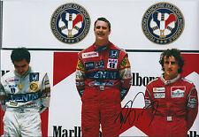 Alain Prost SIGNED Autograph F1 Champ 12x8 Photo AFTAL COA Nigel Mansell Podium