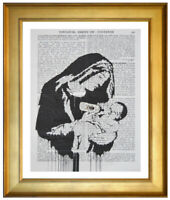 BANKSY TOXIC MARY ART PRINT ON OLD ANTIQUE DICTIONARY & ENCYCLOPAEDIA BOOK PAGE