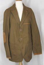 Allagash blazer jacket green khaki safari hunting leather suede trim M L elbow