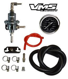 VMS RACING FUEL PRESSURE REGULATOR GAUGE GUNMETAL FOR 96-00 HONDA CIVIC D16 B16
