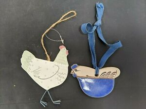 Novelty Wood and Ceramic Hanging Hen/Chicken Decorations