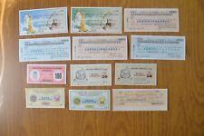 LOTTO 12 BANCONOTE miniassegni banca BUONO D' ACQUISTO LIRE 50 100 250 ANNI '70