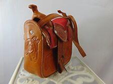 Hand Tooled Leather Saddle Custom Handmade Shoulder Bag/Purse Deep Tan New/Other