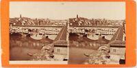 Italia Florence Vista Dei Ponti , Foto Stereo Vintage Albumina Ca 1870