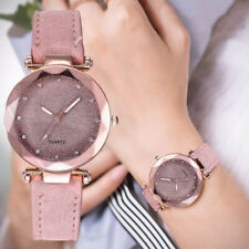 Fashion Women Ladies PU Leather Rhinestone Analog Quartz Wrist Watches Bracelet