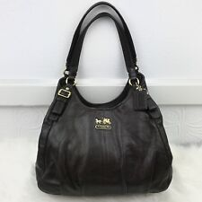 Coach Madison Leather Maggie Hobo Shoulder Bag Brown 100% Authentic