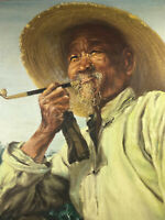 1940's 1950's M.L. Ying Oil on Canvas Painting Old Hong Kong Man w/ Tobacco Pipe