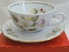 Winterling Bavarian porcelain cup & saucer, December Birthday Flowers, Avon, 60s