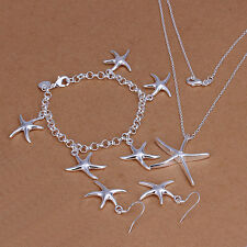 Sterling solid silver starfish necklace&bracelet&earrings Jewelry Sets XLSS124