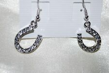 Horseshoe Dangle Earrings Clear Crystals Western Rodeo Stock Show Cowgirl Horse