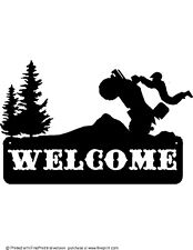 ATV JUMPING WELCOME SIGN STEEL TEXTURED BLACK POWDER COAT FINISH