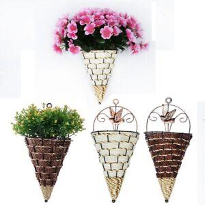 Rattan Wall Planter Hanging Plant Pot Baskets Garden Flower Mounted Holder Decor