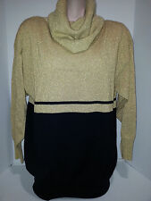 ANNE KLEIN Womens Turtle Neck Pullover Sweater Blouse Top Sz L Large Gold Black