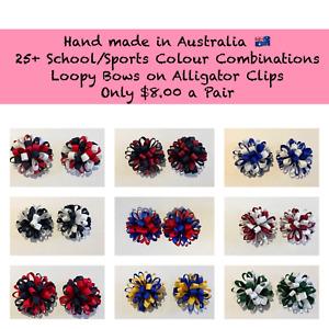 School Colour Loopy Hair Clips 30= Colours Plus Custom Colours available