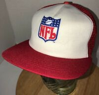 Vintage NFL SHIELD LOGO 80s USA New Era Red White Trucker Hat Cap Snapback RARE