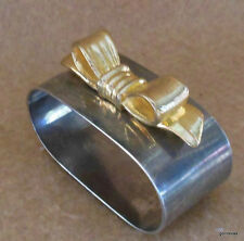 Set of 4 Vintage Silver Plate Napkin Rings with Gold Tone Bow