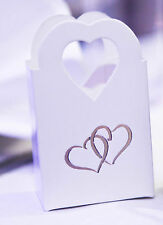 100 White Wedding, Engagement, Anniversary, Party Cake Sweet Favour Boxes Bags