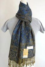 DG Pashmina Scarf Shawl Wrap-Paisley Gold Dark-Blue Silk Cashmere.Soft*011