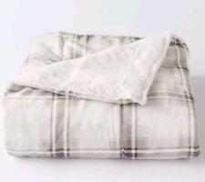 "Cuddl Duds Sherpa Fleece Plush Throw Blanket ~ Gray Plaid ~ 50""×60"" NEW"