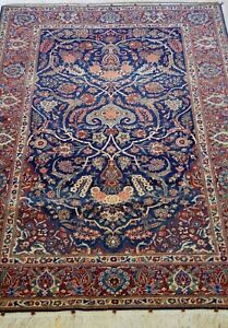 ANTIQUE 1900s TRIBAL FLORAL HAND KNOTTED WOOL ORIENTAL RUG CLEANED 4.5x6.9