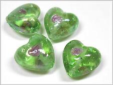 4 Lampwork Perlen Herz hellgrün mit Rose 20*20mm Glasperlen Perlen