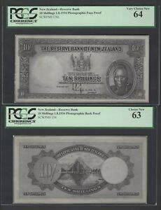 New Zealand Face & Back 10 Shillings 1-8-1934 Photographic Proof Pick Unlisted