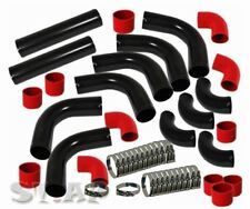 "Universal Jdm Turbo 3"" Aluminum Intercooler 12 Pcs piping Pipe Kit Black Red"