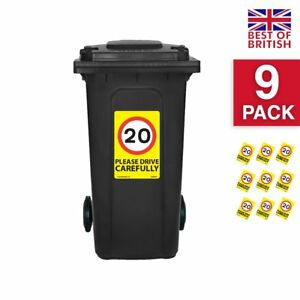 20 Mph Speed Signs [9 X Pack] - A4 Vinyl Stickers, Yellow Background Ideal Fo...