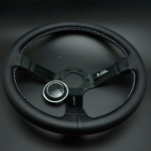 14'' Leather Steering Wheel Mid Deep Dish OMP Racing Drifting White Stitch Novel