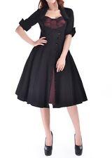Black Burgundy Mock DoubleSwing Dress Rockabilly Retro Gothic 24 Plus 24W 3X *