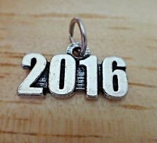 PEWTER 7x19mm Silver Birth Anniversary Graduation Wedding Date 2016 Year Charm