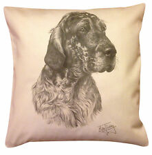 More details for english setter ms cotton cushion cover - choice of cream or white - gift item