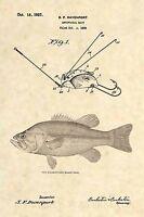 Official Fishing Lure US Patent Art Print- Antique Largemouth Bass Fish Reel 374