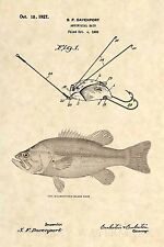 Official Fishing Lure US Patent Art Print- Antique Largemouth Bass Fish Reel 374