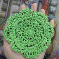 4Pcs/Lot Vintage Hand Crochet Lace Doilies Green Flower Doily Round Table Mat 4""